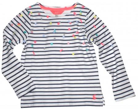 LA Shirt aus weichem BW Jersey in Marine / Weiß geringelt mit bunten Punkten von JOULES 210733