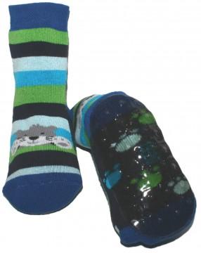 Stopper Socken / Stoppis von EWERS Modell Koala in Blau / Grün gestreift 22028-1261