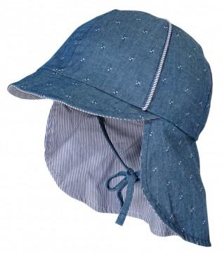 Sommermütze mit Schirm und Nackenschutz in Jeansblau 100% BW UPF 15 von MAXIMO 923400
