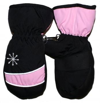 Warm haltende Fausthandschuhe mit Reflex Streifen in Schwarz / Rosa von MAXIMO 520800