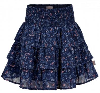 Weit schwingender Rock 3 lagig in Blau mit Blütenmuster Allover von CREAMIE 820873 Skirt Flower