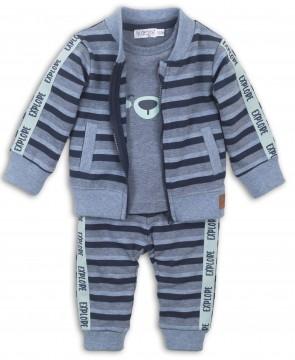 3 Teiliges Jungenset in Jeansblau Melange Collegejacke, Shirt und Schlupfhose von DIRKJE 36457