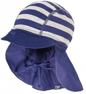 Schirmmütze mit Nackenschutz Jersey / Webware Mix, UPF 15 von MAXIMO in Blau / Grau 061100