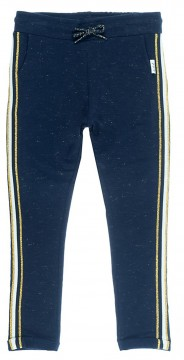 Sweatpants in Navy mit Gold aus weichem French Terry, seitl mit Galon Streifen von JUBEL 0282