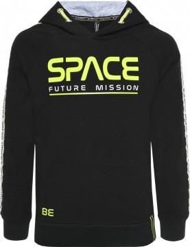 Hoodie / Kapuzensweater in Schwarz mit Neon Grünem Space Print von BLUE EFFECT für Boys 6079