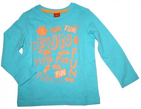 LA Shirt in Aqua Blau / Türkis aus reiner Baumwolle mit leuchtendem Neon Print von S.OLIVER 8752