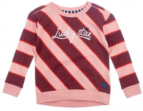 Sweatshirt, innen kuschelig weich, in Coral / Bordeaux Rot, breite Retro Streifen von JUBEL 0217