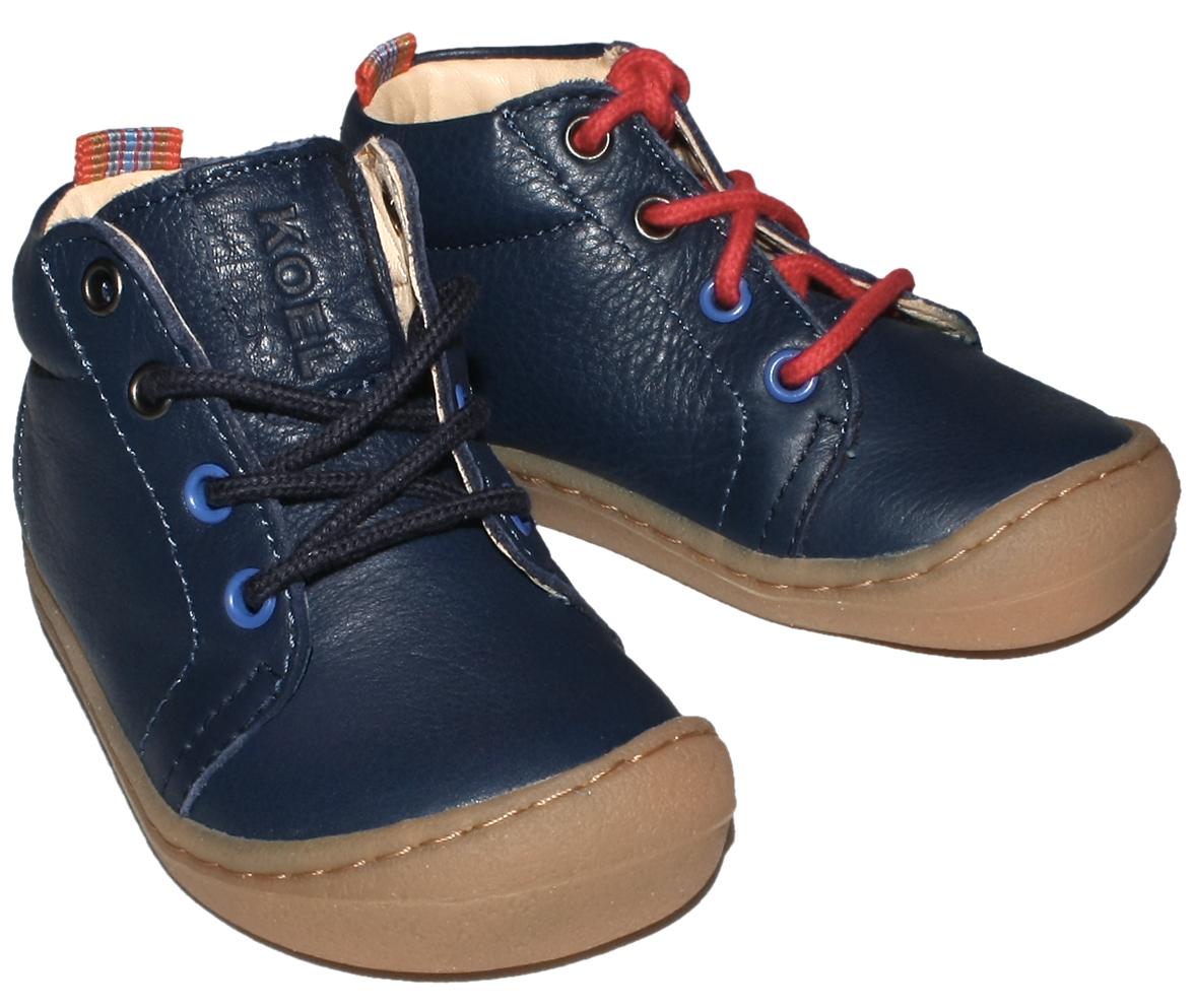 Flexible Bio Leder Schuhe Barfußschuhe in Marine zum schnüren von KOEL4KIDS Ben 840