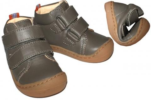 Flexible Bio Leder Schuhe / Barfußschuhe in Grau mit Klett von KOEL4KIDS - BOB 841