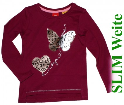 LA Shirt, Burgunder Rotes Interlock Jersey mit Wendepailletten SLIM Fit von S.OLIVER 2805