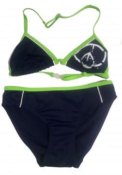 Neckholder Bikini in Marine / Lemon Green mit Peace Zeichen von FASHY 25361