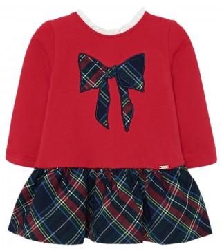 Zauberhaftes Kleid in Rot mit langem Arm & weitem Rock im Schottenkaro von MAYORAL 2927