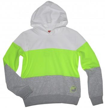 Hoodie / Kapuzensweatshirt in Weiß / Neon Lemon / Hellgrau Melange von S.OLIVER Junior 2351