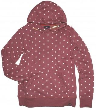 Kuscheliger Kapuzensweater / Hoodie in Bordeaux Melange/ Weiß gepunktet v. THREE HEARTS 3110