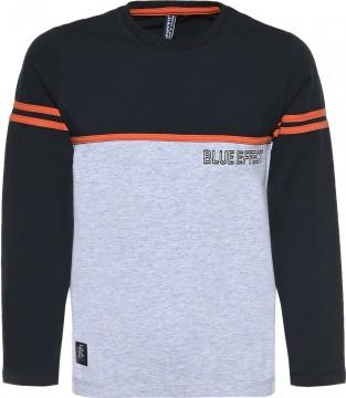 Schlichtes LA Shirt in Nachtblau / Hellgrau Melange mit Logo Print von BLUE EFFECT für Boys 6104