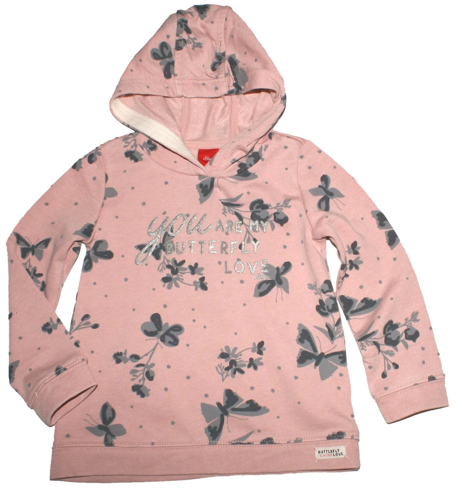 Oliver. Vorschau  Kapuzensweater A-Linie in Altrosé mit grauen  Schmetterlingen   Glitzerprint von S. ... f6e6ac4cd6