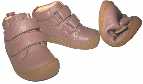Flexible Bio Leder Schuhe / Barfußschuhe in Alt Rosé mit Klett von KOEL4KIDS - BOB 841
