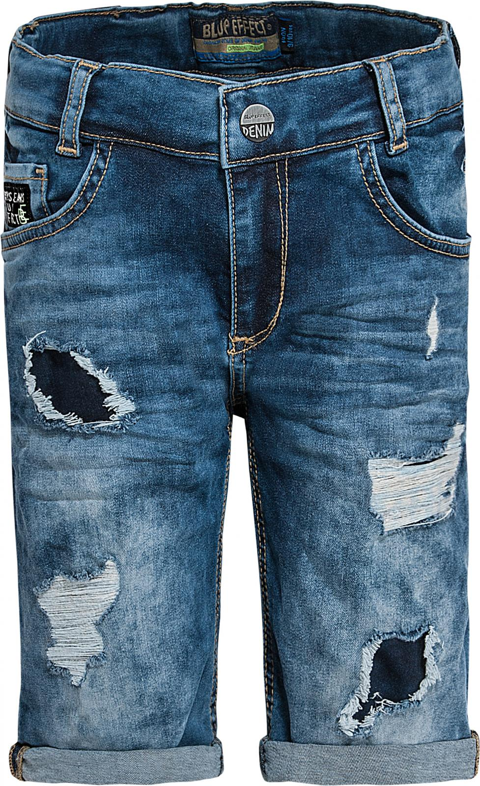 4e9100924bb9 Vorschau  Derbe Jeans Bermuda mit Destroyed Stellen unterlegt in Medium Blue  von BLUE EFFECT 4730 ...