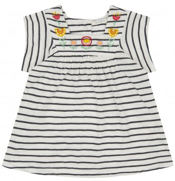 Tunika Shirt in A-Linie GOTS BW Weiß / Marine gestr. von SENSE ORGANICS 2011409