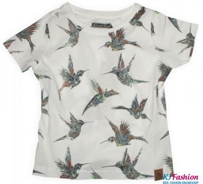 T-Shirt Kurzarm mit Alloverprint Vogel in Weiß JULIANE von COLORADO