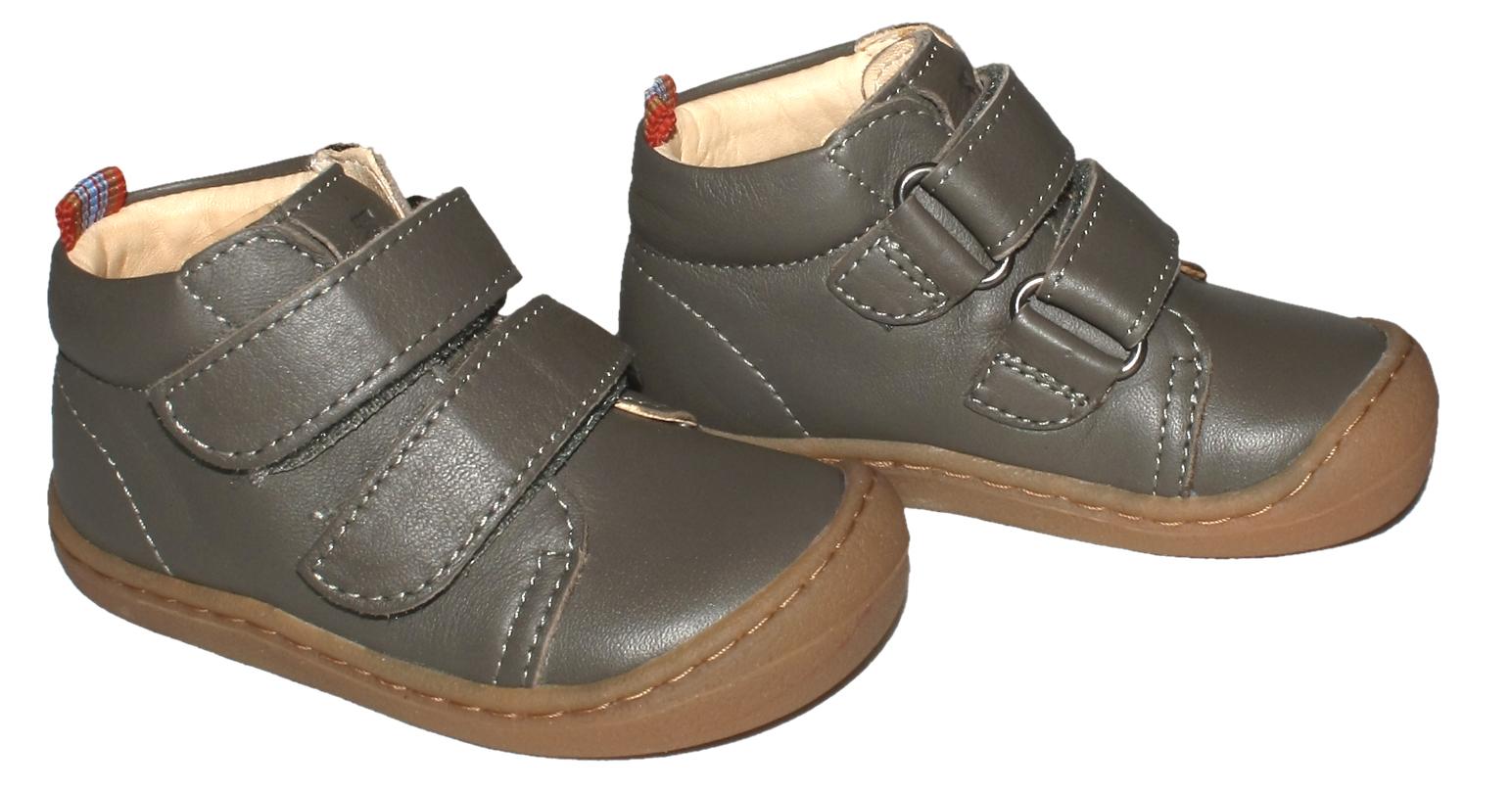 Flexible Bio Leder Schuhe Barfußschuhe in Grau mit Klett von KOEL4KIDS BOB 841