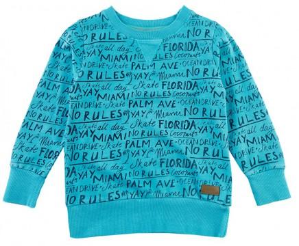 hot sale online 3d6e6 73c05 Sommersweat in Aqua Blau mit Schriftprint von STURDY Serie MIAMI 0195