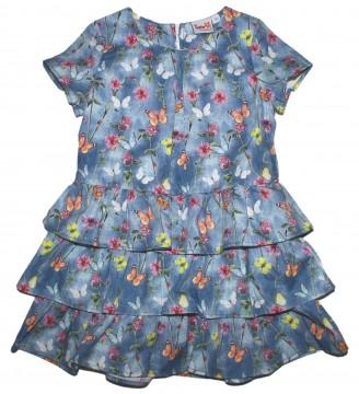 Zauberhaftes Volantkleid in Jeansblau mit bunten Schmetterlingen von TOPO in Fashion 0040-811