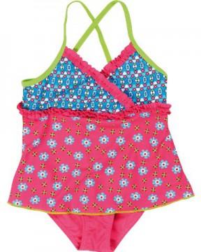 Badeanzug mit eingenähtem Rock UV 80 RETRO in Pink / Türkis PLAYSHOES
