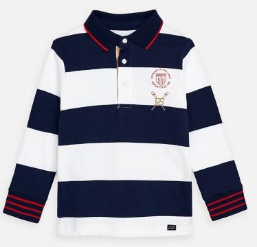 Poloshirt Langarm in Marine / Weiß gestreift aus reiner BW für Jungen von MAYORAL 3159