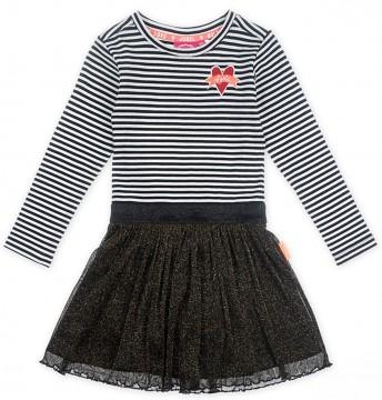 Sportlich schickes Shirtkleid mit Glitzerrock in Schwarz / Gold für Mädchen von JUBEL 0233