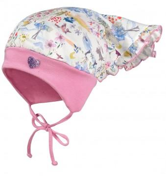 Süße Kopftuchmütze in Weiß mit Aquarell Muster & Rosa Bündchen UPF 50+ von MAXIMO 049076