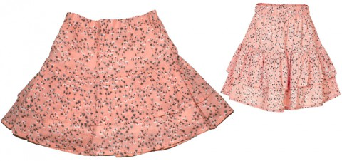 Leichter & weit schwingender Rock in Apricot mit Blütenmuster von CREAMIE Modell BREANNA Skirt