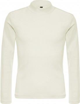 Schlichtes Basic Shirt, schmal geripptes Jersey mit Stehkragen in Creme von BLUE EFFECT 5617