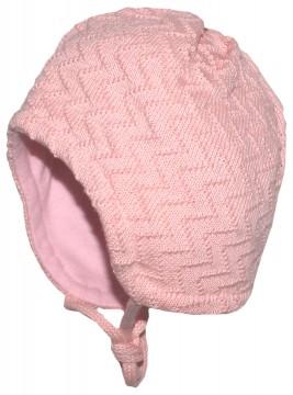 Schlichte Struktur Strickmütze aus reiner BW mit BW Fleece Futter in Zart Rosa von MAXIMO 357200