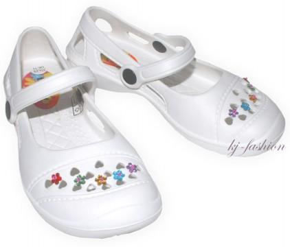 Ultraleicht Pantolette / Badeschuhe / Sandale von Fashy mit Blüten Pins in Weiß Gr.Wahl 7488