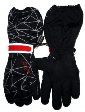Skihandschuhe / Fingerhandschuhe mit langer Stulpe, Schwarz,, reflektierend, BW Futter von MAXIMO