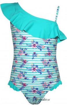 Badeanzug mit asymetrischem Volantbesatz in Türkis Flower von MEXX UV 50+ Modell k1chn007