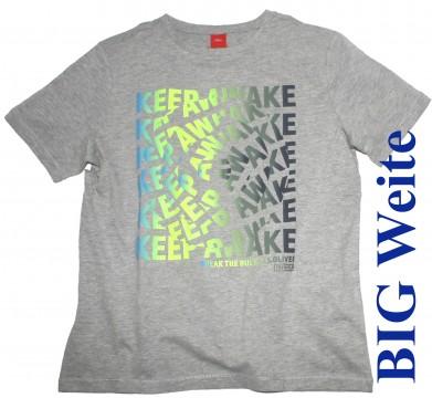 Lässiges T-Shirt in Hellgrau Melange mit Neon Frontprint BIG Weite von s.OLIVER 6093