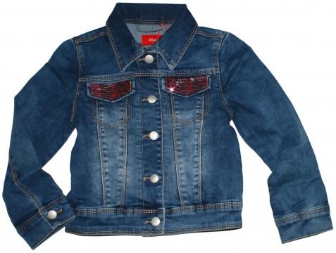 Super weiche Jeansjacke in Medium Blue mit Pailletten auf den Taschen von S.OLIVER 2264