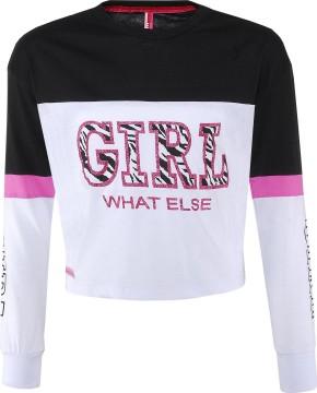 LA Boxy Shirt in Cropped Länge, BW Jersey Weiß /Schwarz, Glitzer Print von BLUE EFFECT 5472