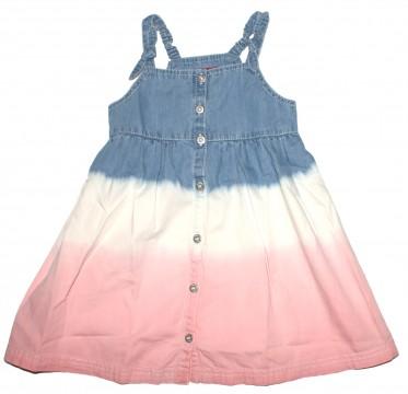 Latzkleid / Jeanskleid zum knöpfen im Batik Stil Jeansblau / Cremé / Rosa von S..OLIVER 3035