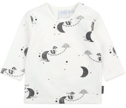 """LA Shirt in Offwhite, matt schwarzer Mont Print - To the Moon - von FEETJE """" Hello World"""" 1492"""