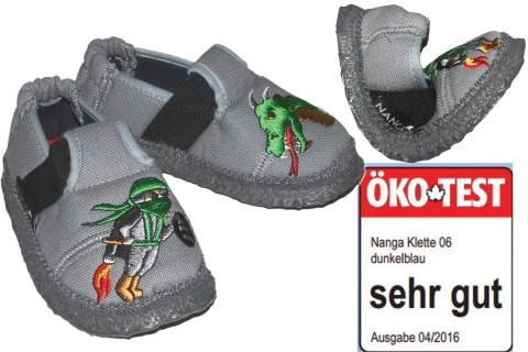 Super flexible Hausschuhe mit Naturgummi Sohle aus Bio BW von NANGA - NINJA in Grau