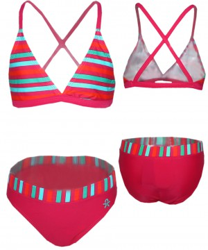 Bikini in Magenta / Streifen Design von COLOR KIDS UV 40+ BLINKY