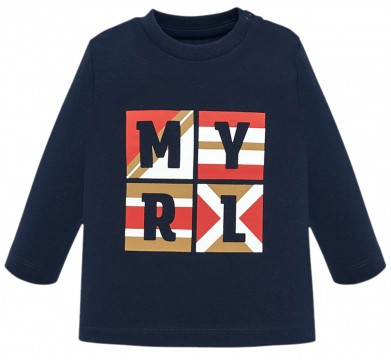LA Shirt aus Baumwoll Jersey in Marine Blau mit Logo Print auf der Front von MAYORAL 108
