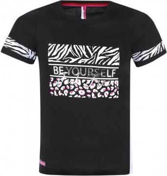 Schwarzes T-Shirt mit Zebra Print und Glitzer Druck für Girls / Teens von BLUE EFFECT 5476