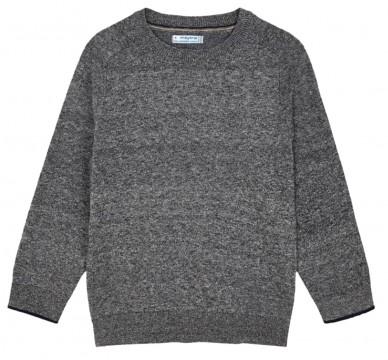 Schlicht schicker Feinstrick Pullover aus weichem BW Mix in Grau Melange von MAYORAL 323 -71