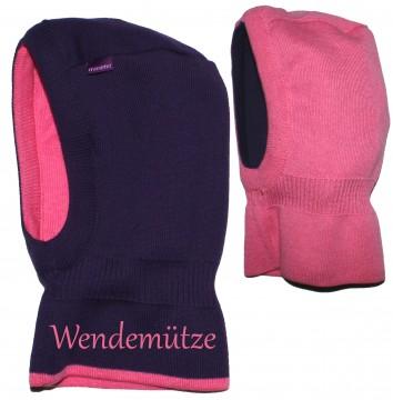 Schlupfmütze / Schalmütze aus reiner BW zum wenden in Violett - Pink v. MAXIMO 022900
