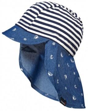 Schirmmütze mit Nackenschutz Maritim Jersey / Webware Mix, UPF 30 MAXIMO Navy / Weiß gestr.