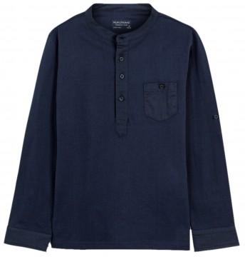 Schlichtes Henley Shirt Langarm in Dark Navy aus weichem BW / Leinen Mix von MAYORAL Teens 6073